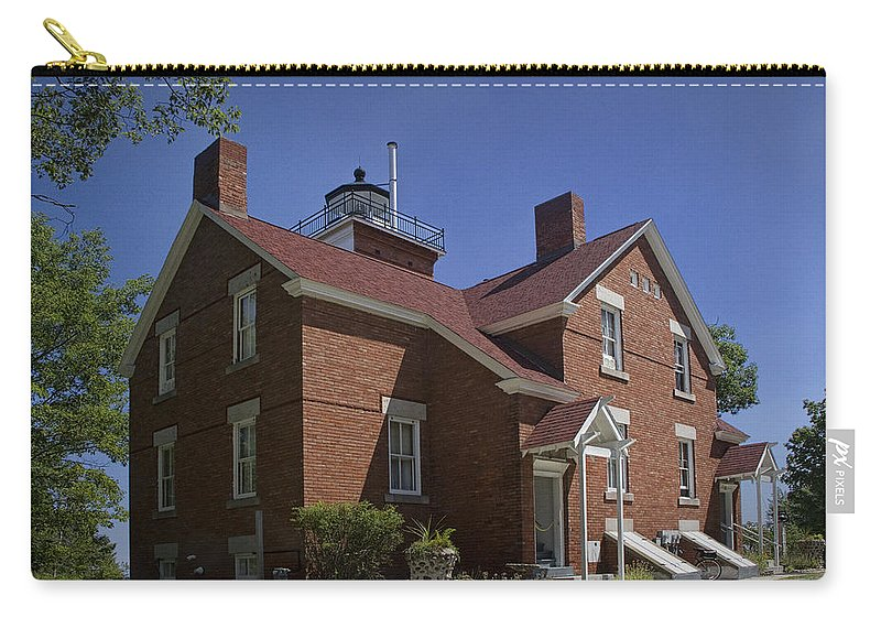 Art Carry-all Pouch featuring the photograph Forty Mile Point Lighthouse In Michigan Number 417 by Randall Nyhof