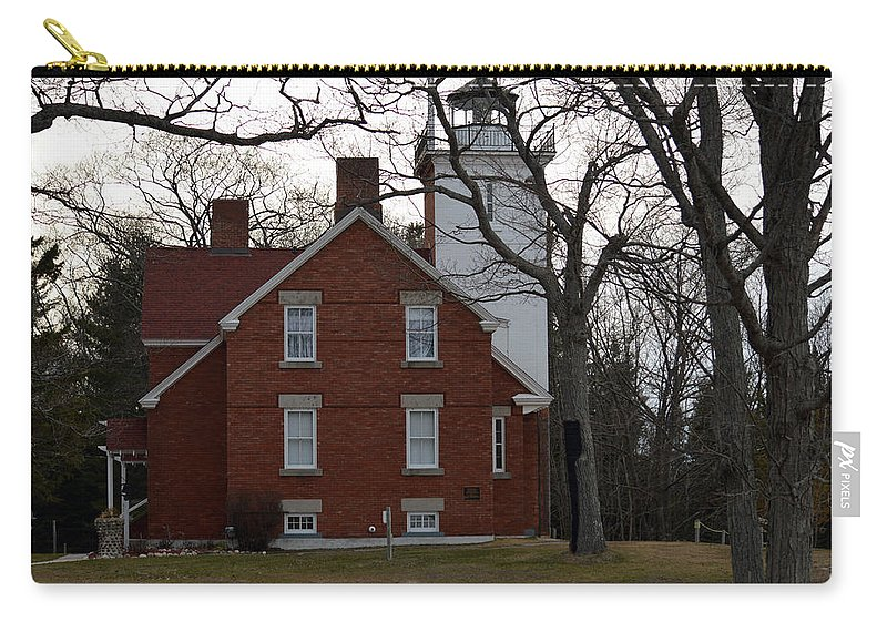 Forty Mile Point Lighthouse Carry-all Pouch featuring the photograph Forty Mile Point Lighthouse by Linda Kerkau