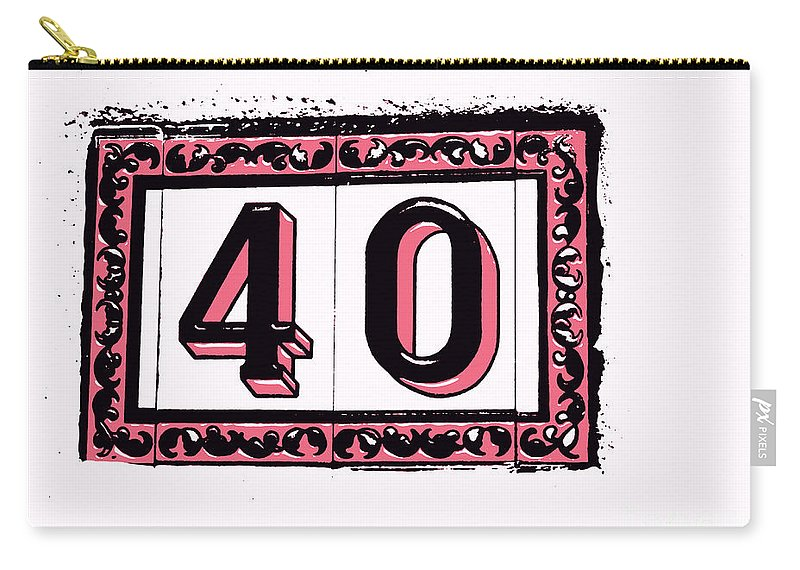 40 Carry-all Pouch featuring the digital art Forty Pink And Black by Valerie Reeves