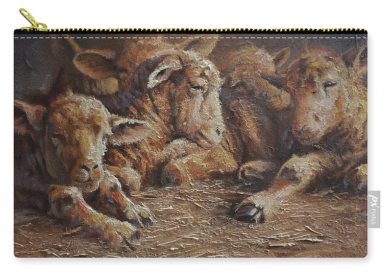 Lambs Carry-all Pouch featuring the painting Forty Winks by Mia DeLode