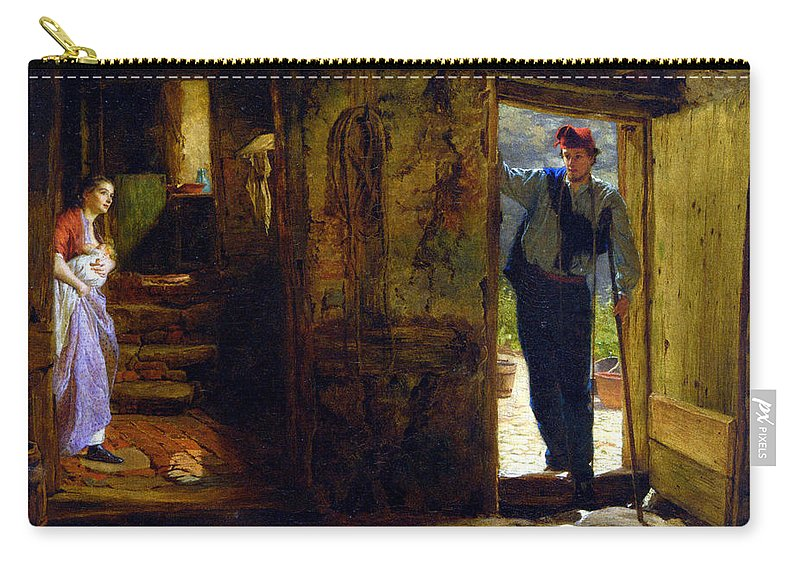 George Elgar Hicks Carry-all Pouch featuring the digital art Forward She Started With A Happy Cry by George Elgar Hicks