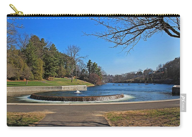 Fountain Carry-all Pouch featuring the photograph Fountain At Wachusett Dam by Michael Saunders
