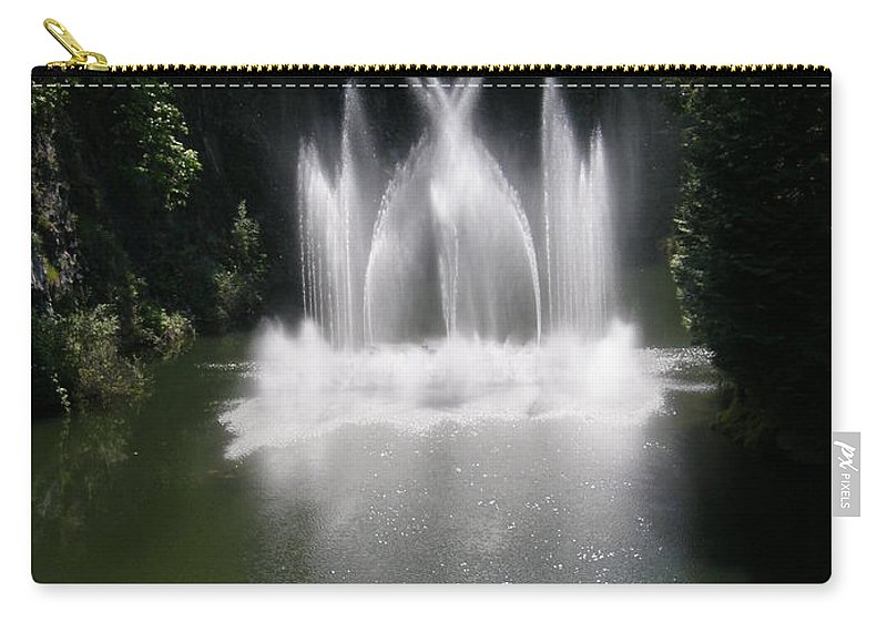 Fountain Carry-all Pouch featuring the photograph Fountain In Lake by Bev Conover