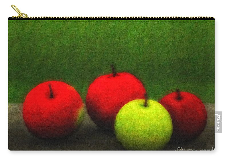 3d Carry-all Pouch featuring the digital art Four Apples by Jutta Maria Pusl