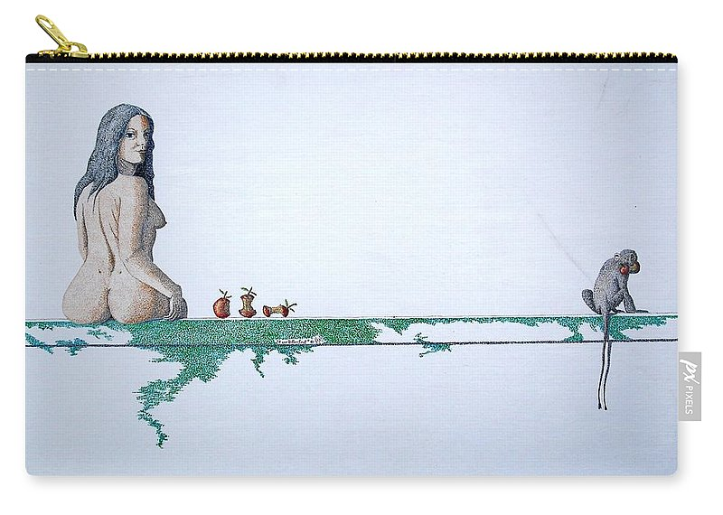 Female Figure Carry-all Pouch featuring the painting Four Bitten Fruit by A Robert Malcom