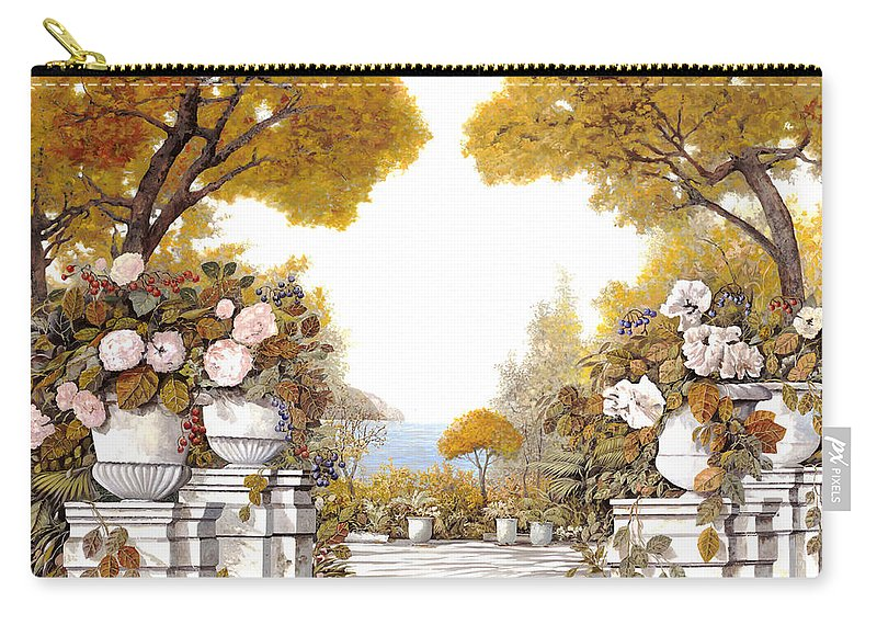 Autumn Carry-all Pouch featuring the painting four seasons-autumn on lake Maggiore by Guido Borelli