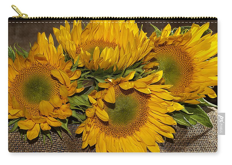 Sunflower Carry-all Pouch featuring the photograph Four Sunflowers by Phyllis Denton