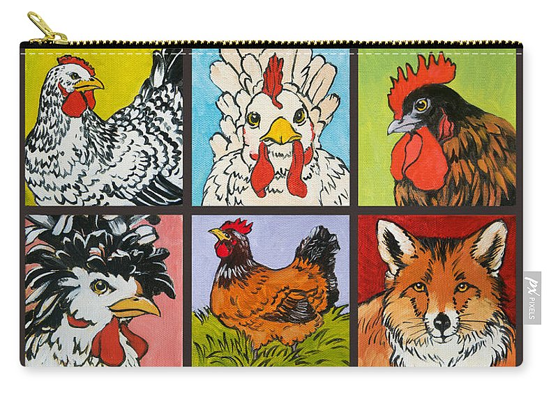 Chickens Carry-all Pouch featuring the painting Fox In The Henhouse by Tracie Thompson