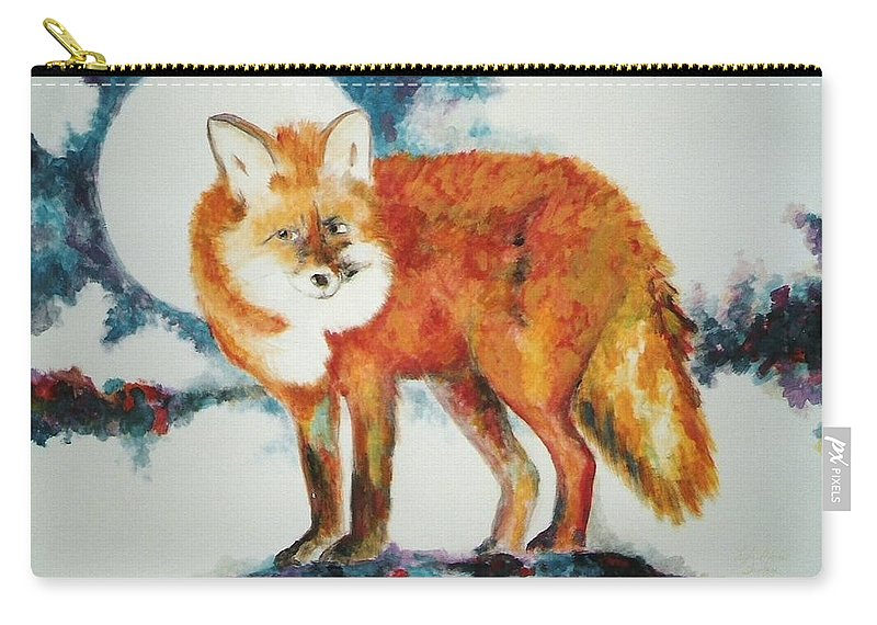 Fox Carry-all Pouch featuring the painting Fox In The Moon by Lord Frederick Lyle Morris - Disabled Veteran