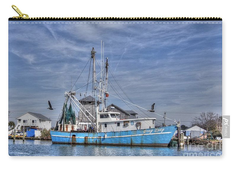Cedar Point North Carolina Carry-all Pouch featuring the photograph Shrimp Boat At Port by Benanne Stiens