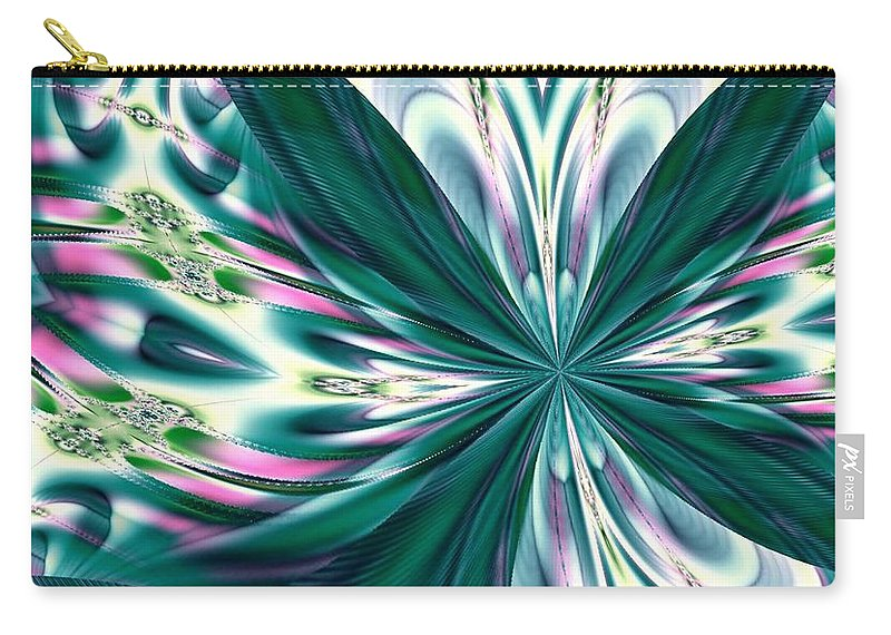 Fractal 011 Carry-all Pouch featuring the digital art Fractal 011 by Maria Urso