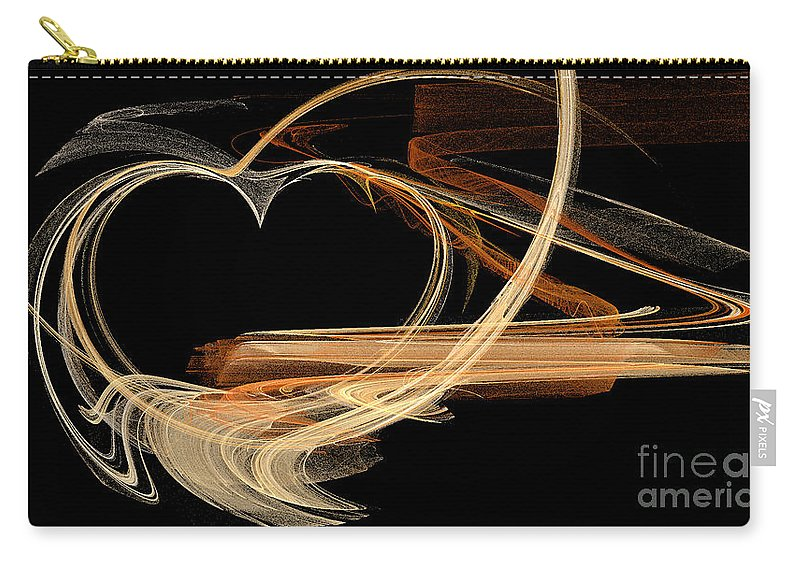 Digital Art Carry-all Pouch featuring the digital art Fractal 24 Es Heart by Alys Caviness-Gober