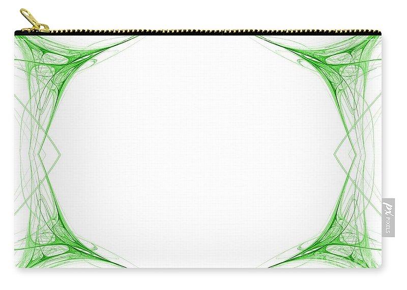 Green Carry-all Pouch featuring the digital art Fractal 42 Green Frame by Henrik Lehnerer