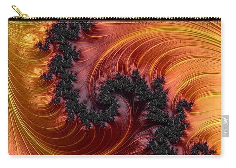 Fractal Carry-all Pouch featuring the digital art Fractal Heat - A Fractal Abstract by Ann Garrett