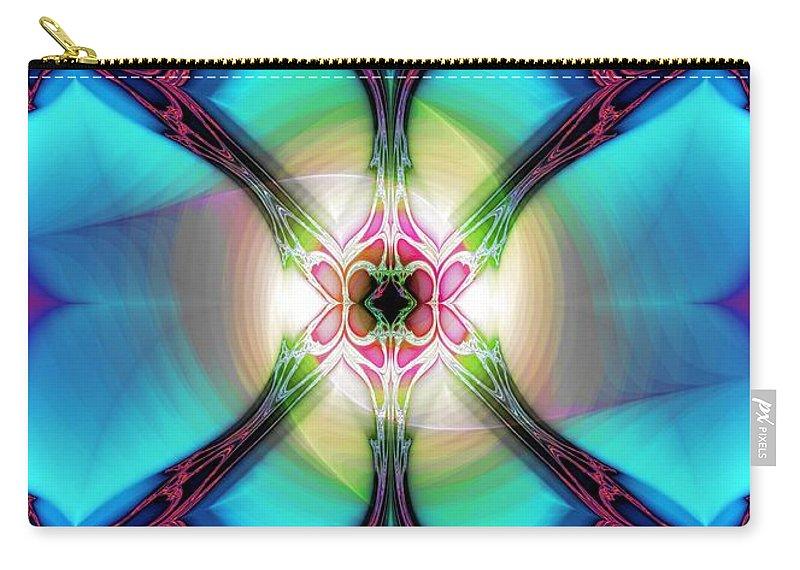 Fractal Nouveau Carry-all Pouch featuring the digital art Fractal Nouveau by Elizabeth McTaggart
