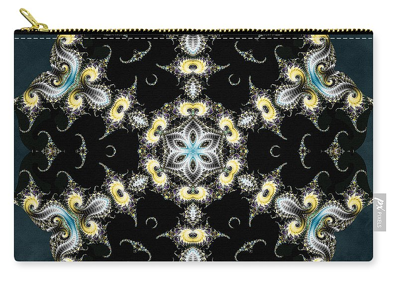 Sacredlife Mandalas Carry-all Pouch featuring the digital art Fractal Seahorses by Derek Gedney