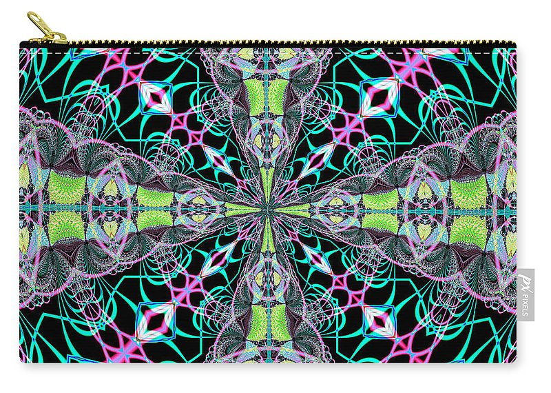 Fractals Carry-all Pouch featuring the digital art Fractalscope 24 by Rose Santuci-Sofranko