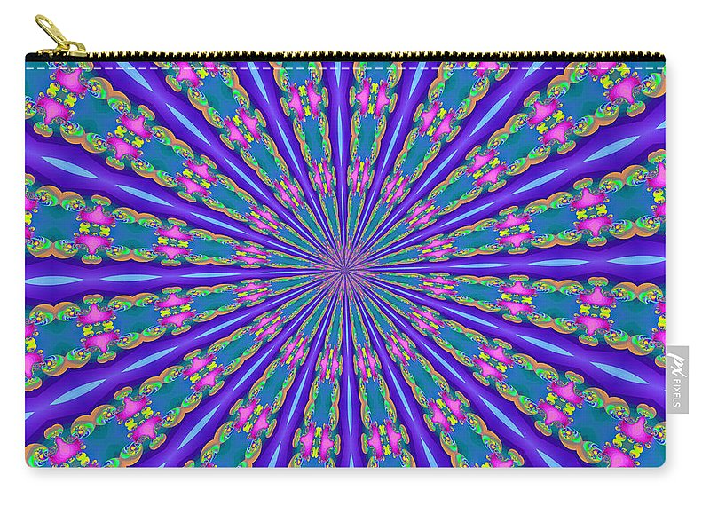Fractals Carry-all Pouch featuring the digital art Fractalscope 26 by Rose Santuci-Sofranko