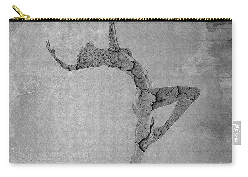 Fragile Beauty Ballet Ballerina Dance Dancing Paper Texture Desert Woman Girl Female Nude Naked Expressionism Black White Erotic Digital Painting Abstract Carry-all Pouch featuring the painting Fragile by Steve K