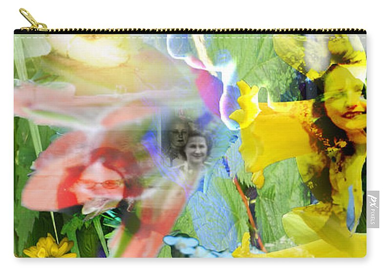 Colorful Carry-all Pouch featuring the digital art Framed In Flowers by Cathy Anderson