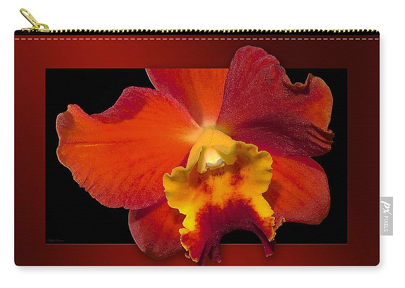 Orchid Carry-all Pouch featuring the photograph Framed Red Orchid by Phyllis Denton