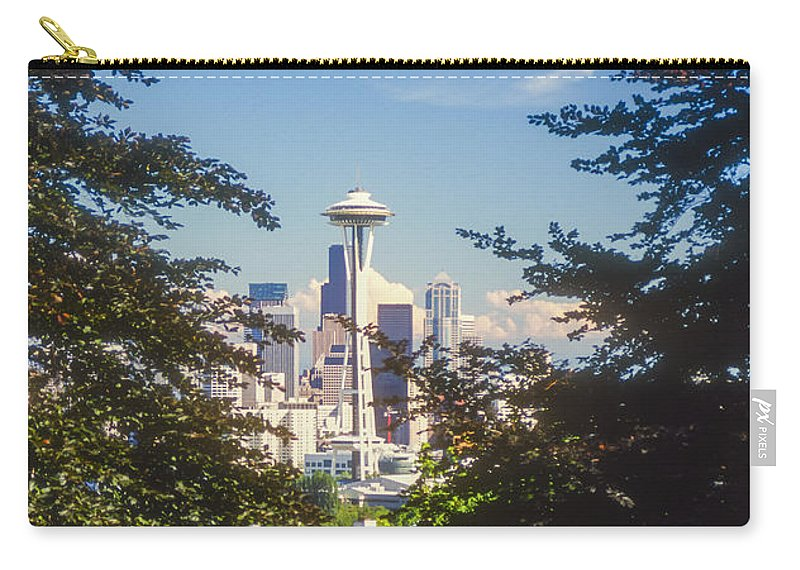 Seattle Carry-all Pouch featuring the photograph Framed Space Needle by Bob Phillips