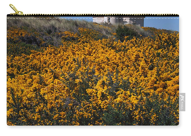 Coquile River Lighthouse Carry-all Pouch featuring the photograph Framed With Gold by Mike Dawson