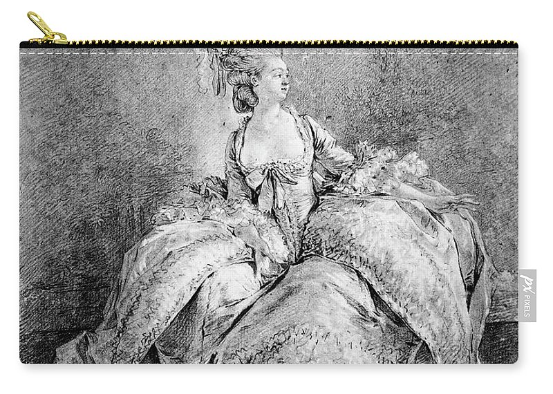 1778 Carry-all Pouch featuring the drawing France Court Life, 1778 by Granger