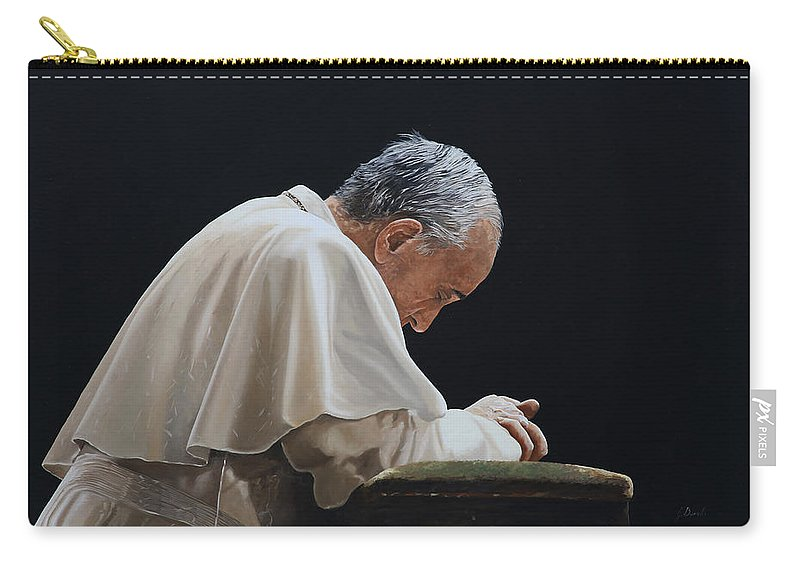 Papa Francesco Carry-all Pouch featuring the painting Francesco by Guido Borelli