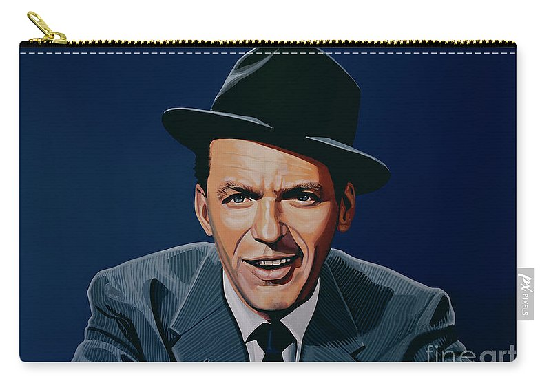 Frank Sinatra Carry-all Pouch featuring the painting Frank Sinatra by Paul Meijering