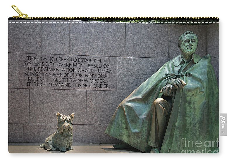 Exterior Carry-all Pouch featuring the digital art Franklin Delano Roosevelt by Carol Ailles