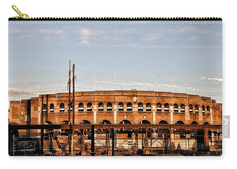 Franklin Field In The Morning Carry-all Pouch featuring the photograph Franklin Field In The Morning by Bill Cannon
