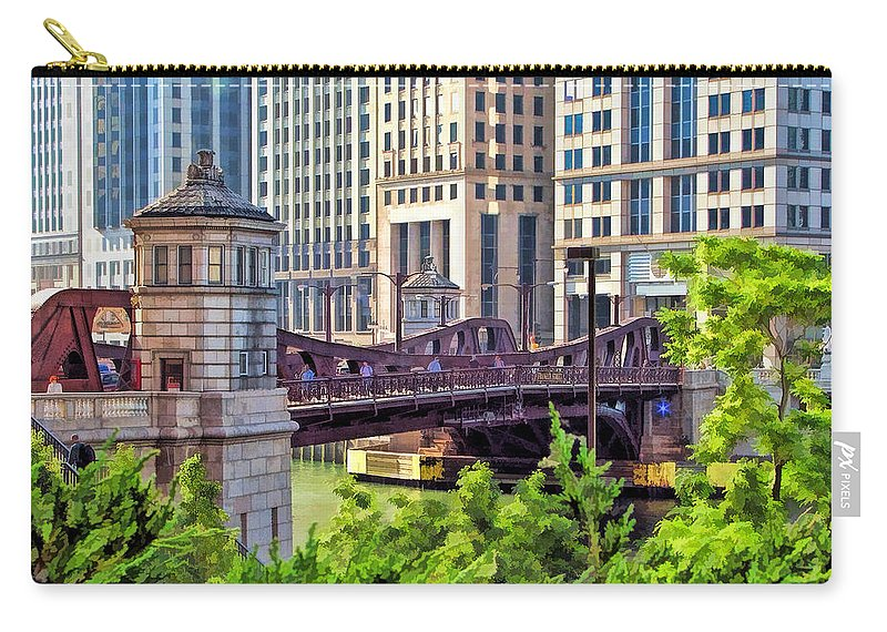 Chicago Carry-all Pouch featuring the painting Franklin Street Bridge by Christopher Arndt
