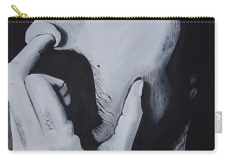 Black And White Carry-all Pouch featuring the painting Franklyz by Dean Stephens