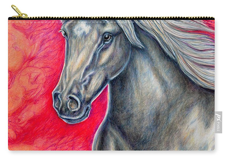 Animal Horse Nature Stallion Bronze Red Carry-all Pouch featuring the painting Free Spirit by Gail Butler