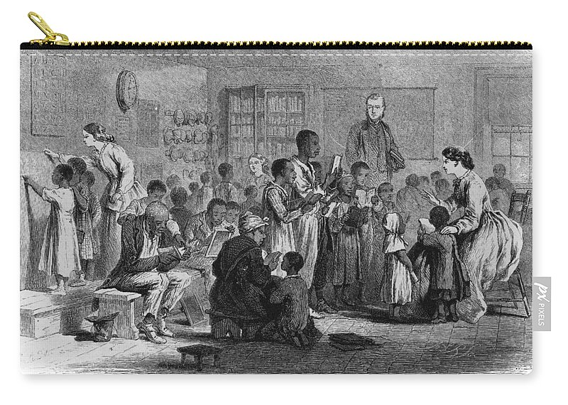 1865 Carry-all Pouch featuring the painting Freedmen's School, 1865 by Granger