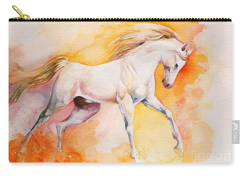 Horse Carry-all Pouch featuring the painting Freedom by Tamer and Cindy Elsharouni