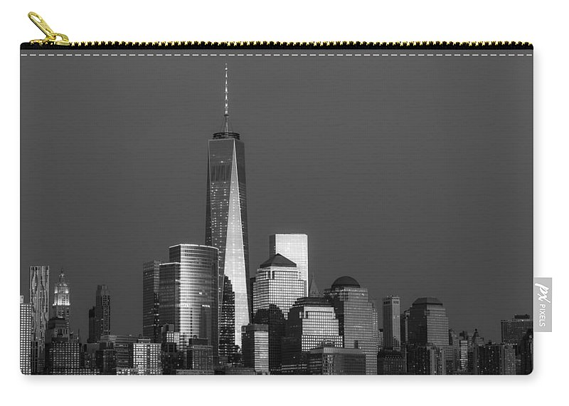 Financial District Carry-all Pouch featuring the photograph Freedom Tower Glow Bw by Susan Candelario