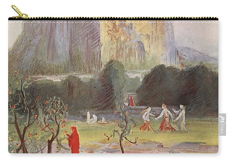 Myth Carry-all Pouch featuring the drawing Freias Garden, 1906 by Hermann Hendrich