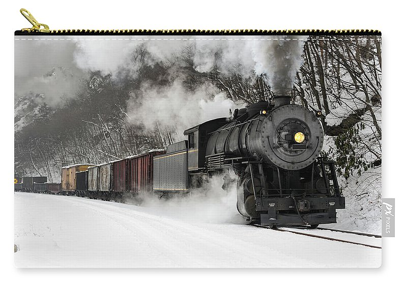 Scenics Carry-all Pouch featuring the photograph Freight Train With Steam Locomotive by Catnap72
