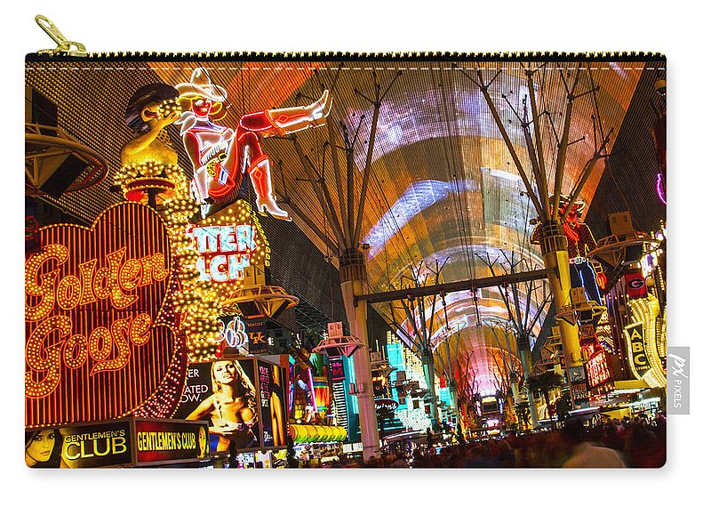 Las Vegas Carry-all Pouch featuring the photograph Fremont Street Experience Lights by Angus Hooper Iii