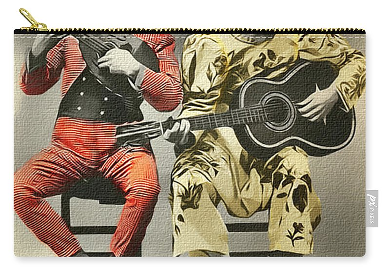 Vintage Carry-all Pouch featuring the photograph French Clown Musicians Vintage Art Reproduction Tint by Lesa Fine