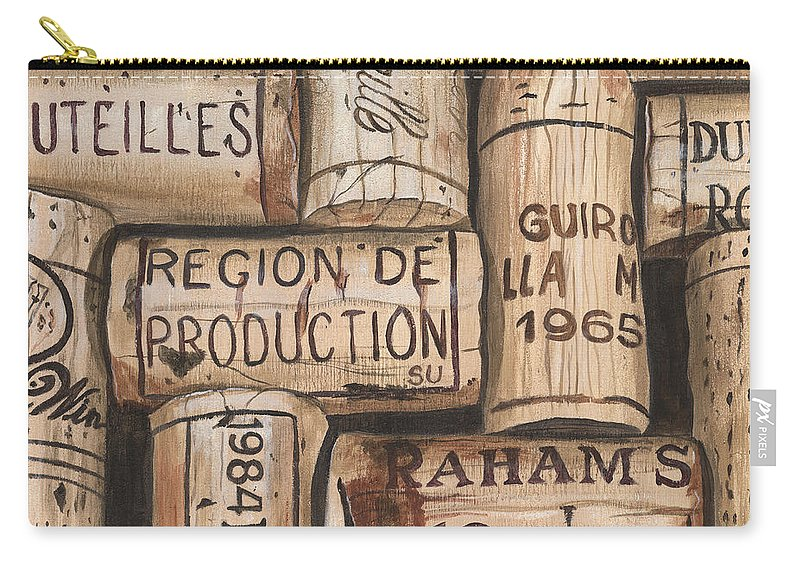 Alcohol Carry-all Pouch featuring the painting French Corks by Debbie DeWitt