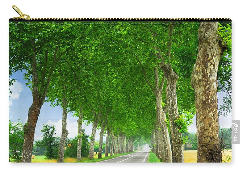 Road Carry-all Pouch featuring the photograph French Country Road by Elena Elisseeva