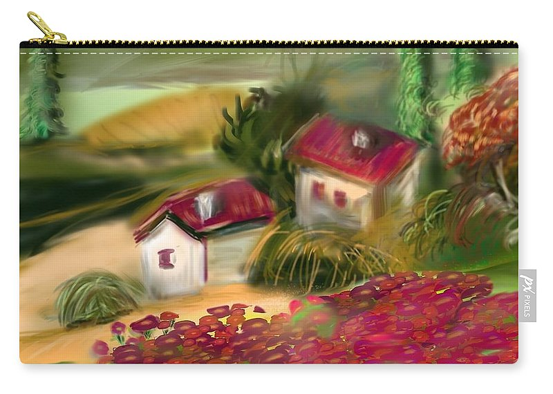 Countryside Carry-all Pouch featuring the digital art French Country Squared by Christine Fournier