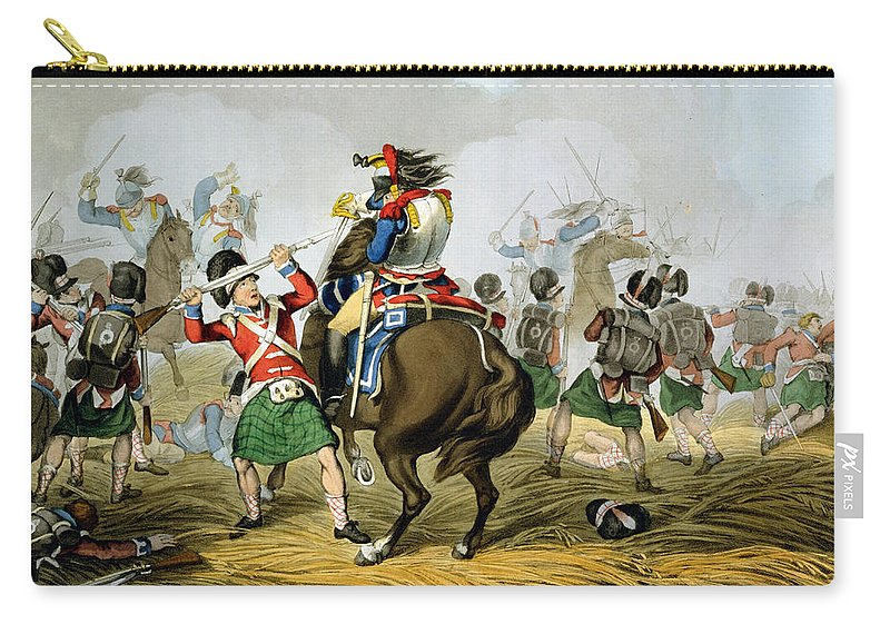 Soldiers Carry-all Pouch featuring the drawing French Cuirassiers At The Battle by John Augustus Atkinson