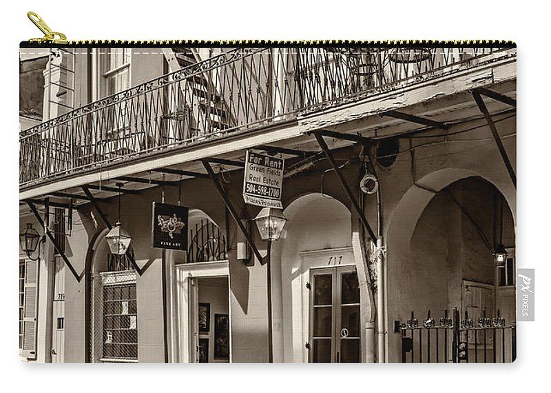 French Quarter Carry-all Pouch featuring the photograph French Quarter Art And Artistry Sepia by Steve Harrington