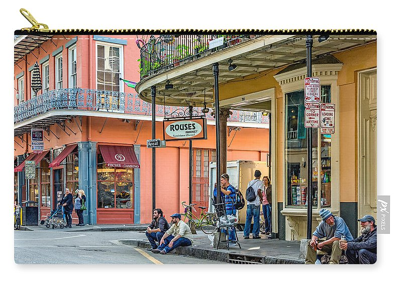 French Quarter Carry-all Pouch featuring the photograph French Quarter - Hangin' Out by Steve Harrington
