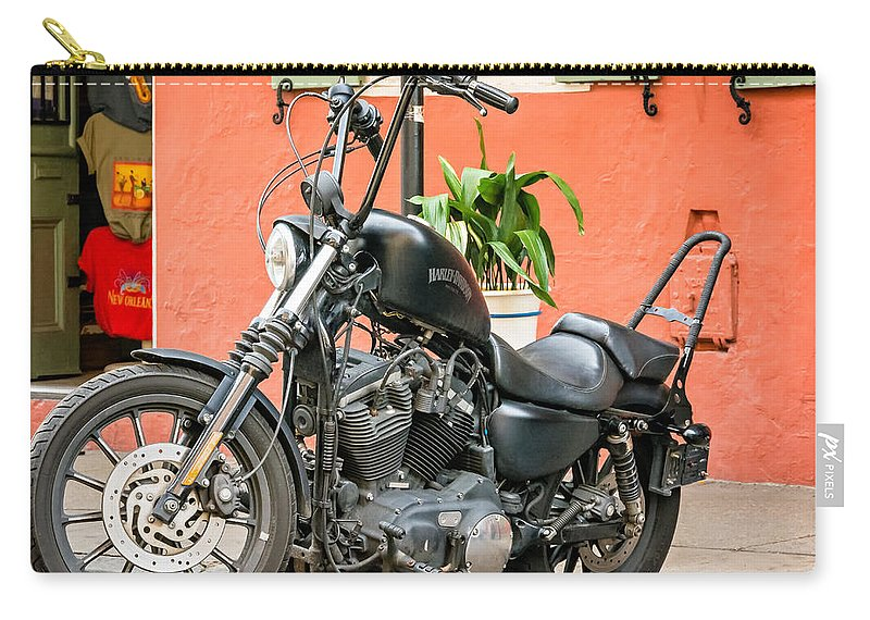 French Quarter Carry-all Pouch featuring the photograph French Quarter Harley by Steve Harrington