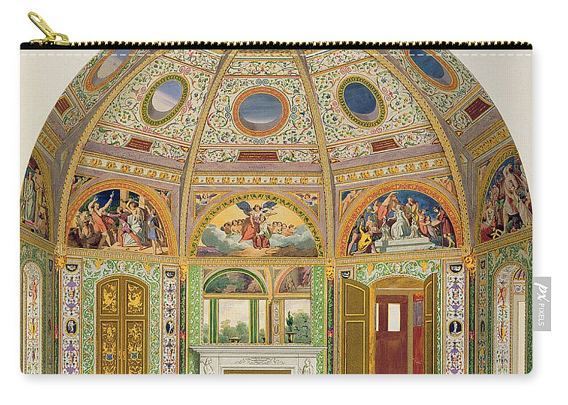 Interior Carry-all Pouch featuring the drawing Fresco Decoration In The Summer House by English School
